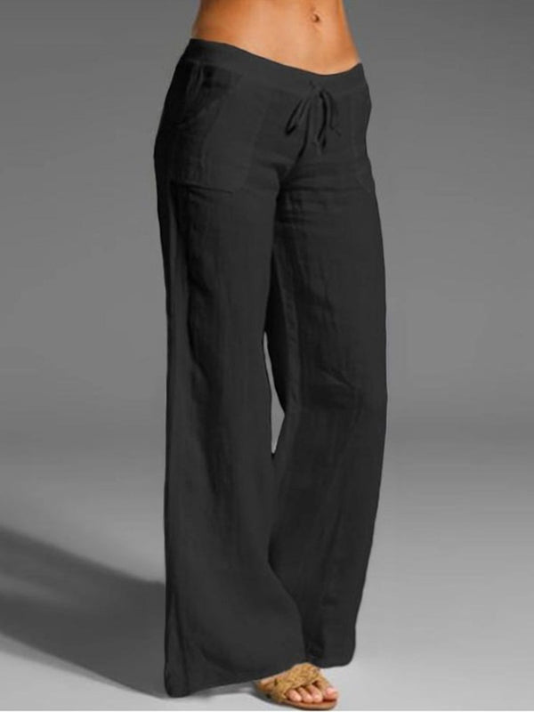 Cotton And Linen Solid Color Women'S Casual Pants