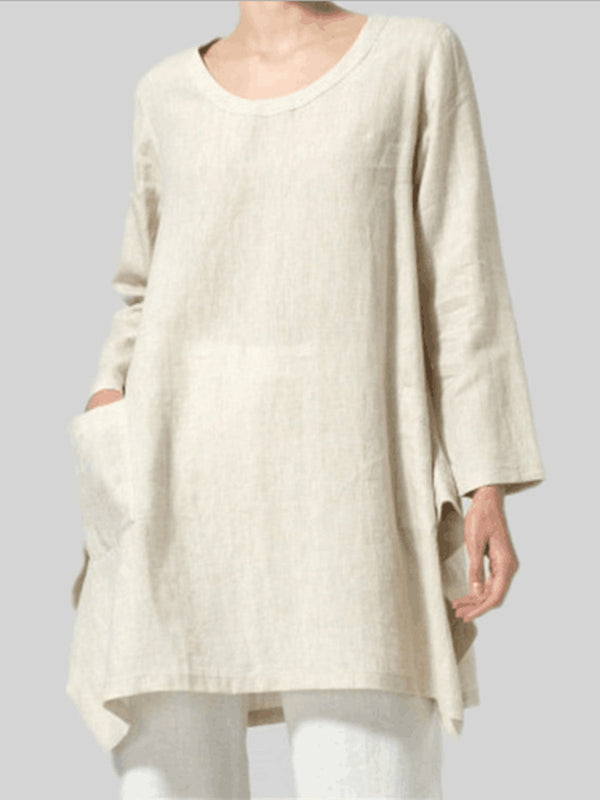 Women'S Solid Color Long-Sleeved Cotton And Linen Top