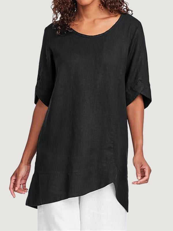 Simple Cotton And Linen Women'S Short Sleeve Top