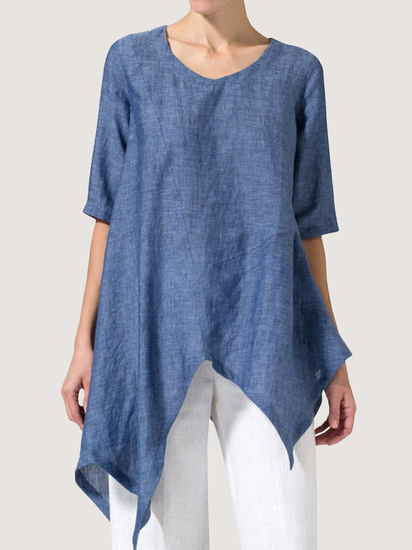 Simple Design Irregular Hem Women'S Top