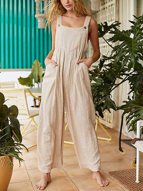 Women Plain Jumpsuit Loose Buttons Overalls