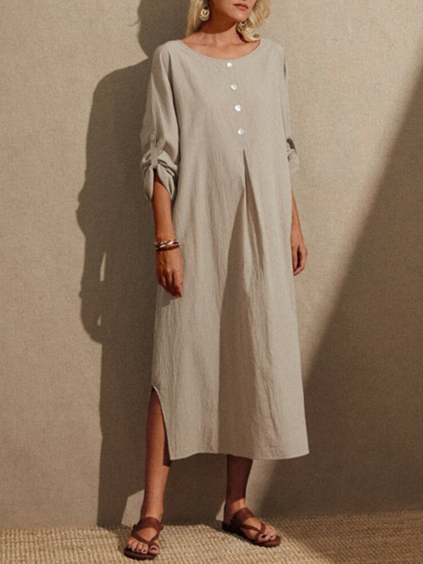 Women's Solid Color Round Neck Casual Loose Long Sleeve Dress