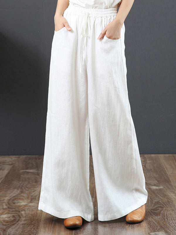 Women's Solid Color Retro Casual High Waist Loose Wide Leg Trousers