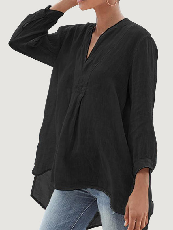 Women Cotton and Linen 3/4 Sleeve V Neck Plain Blouse