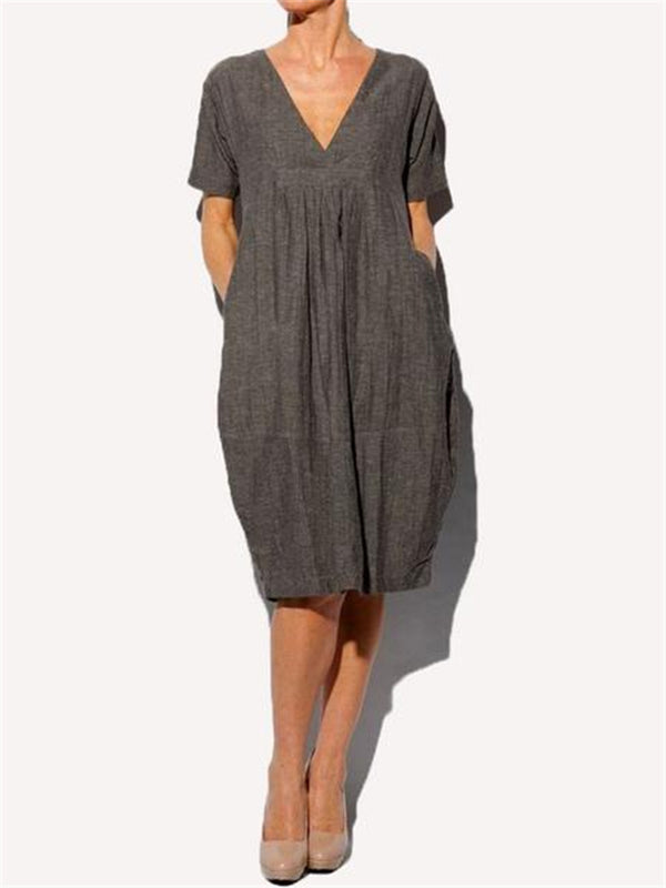 Pleated V-Neck Women'S Dress