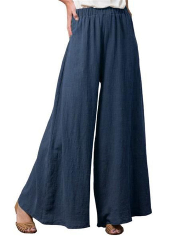 Cotton And Linen Comfortable Solid Color Women'S Wide-Leg Pants