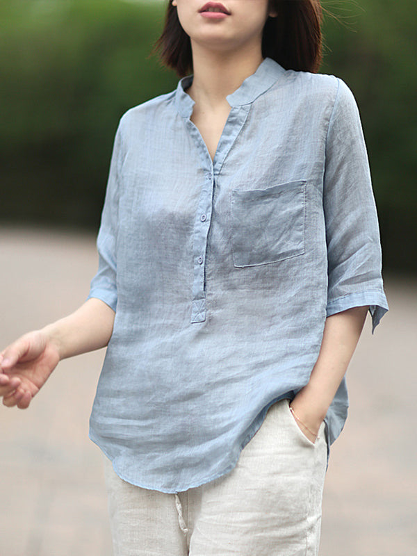 Stand-up Collar Mid-sleeve Cotton Linen Shirt