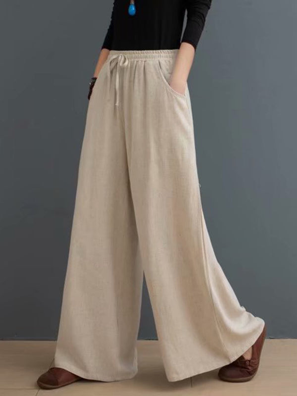 High Waist Loose Cotton And Linen Trousers
