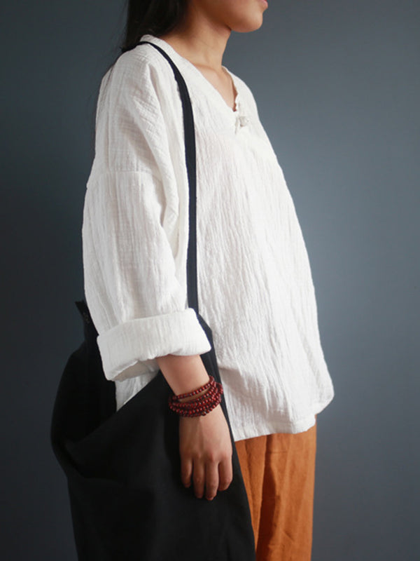 V Neck Long Sleeve Cotton And Linen Blouse