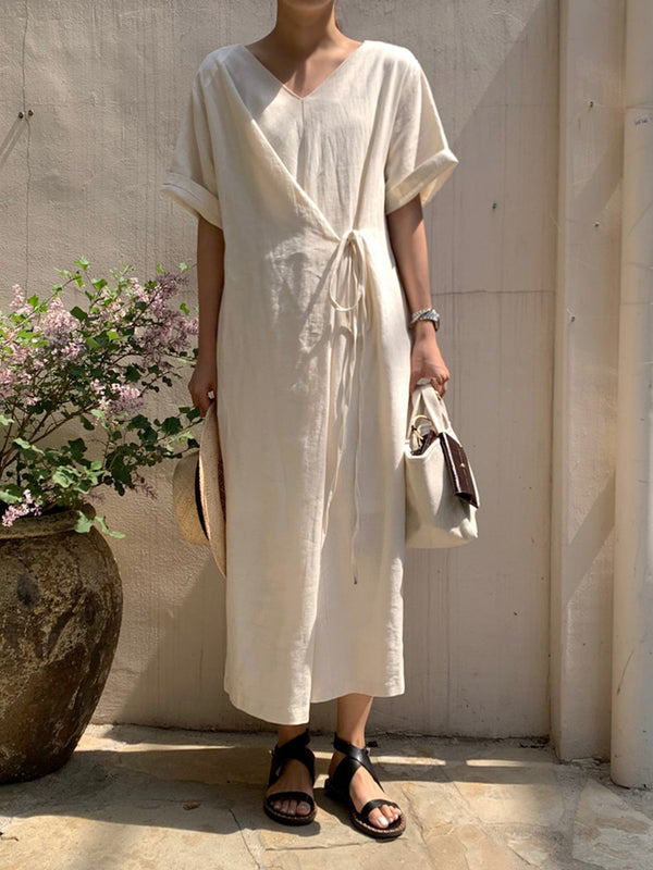 Both Front And Back Wear Cotton And Linen Dresses