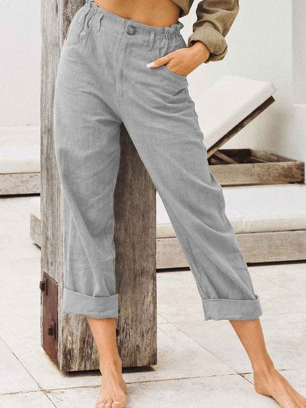 High Waist Loose Cotton And Linen Pants