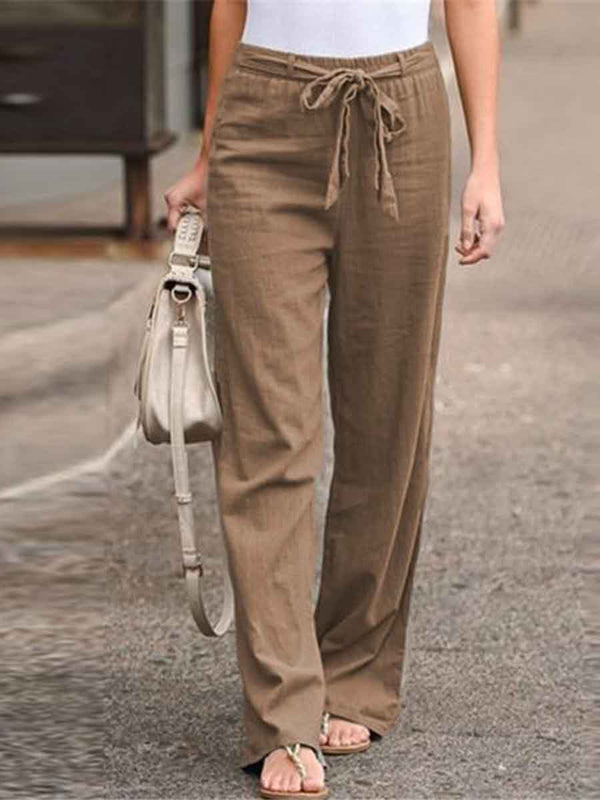 Elastic Waist Solid Color Cotton And Linen Wide-leg Pants