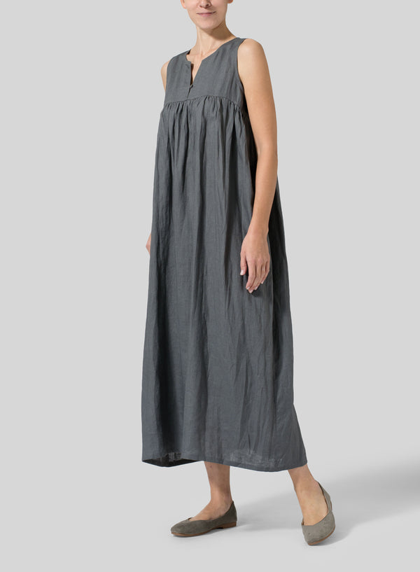 Simple Solid Color Cotton And Linen Women'S Dress