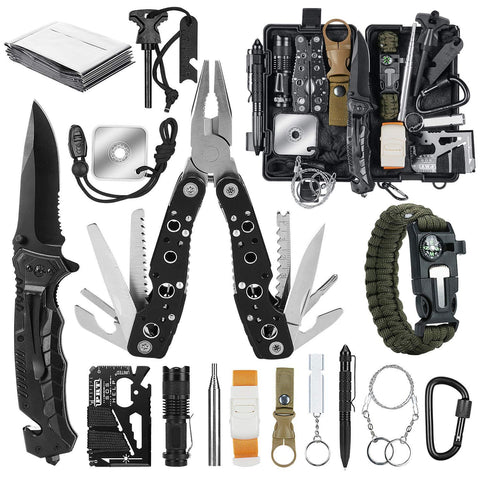 17-in-1 Survival Kit - Black - Nifty Camping Gear