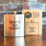 Hip Flask | 6oz Stainless Steel | CHEAPER THAN THERAPY