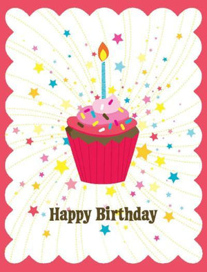 Kids Glitter Cupcake Birthday Card