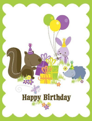kids glitter Animals Birthday Card