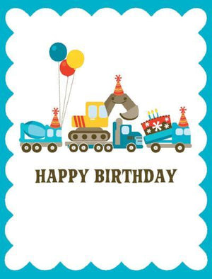 kids glitter Birthday Card with trucks