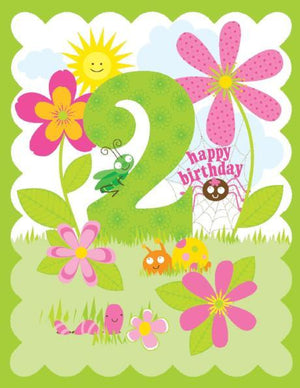 kid 2nd Birthday Card with flowers and bugs