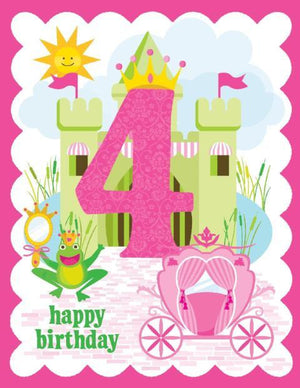 kids 4th Birthday Card with castle and carriage