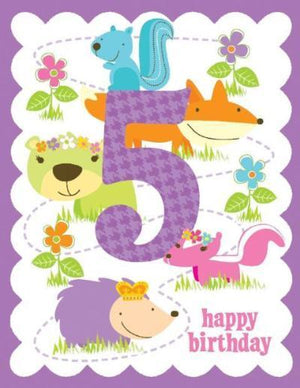 kid 5th glitter Birthday Card small forrest animals and flowers