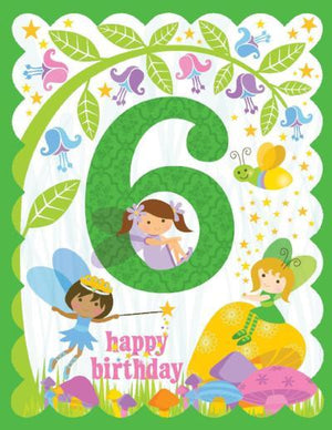 kid 6th glitter Birthday Card with fairies