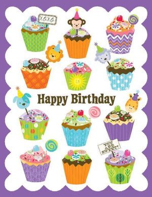 kids glitter Cupcakes Birthday Card