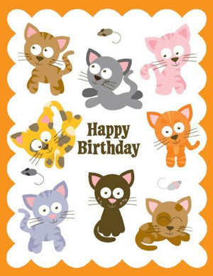 kids glitter Kittens Birthday Card
