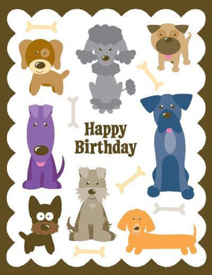 kids glitter Dogs Birthday Card