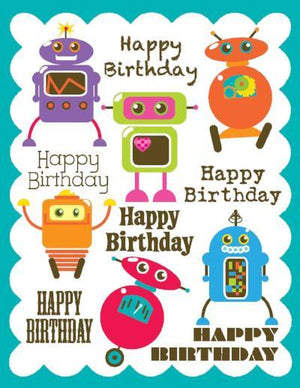 kids glitter Robots Birthday Card