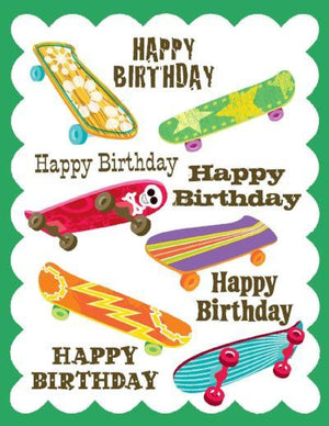 kids glitter Skateboard Birthday Card