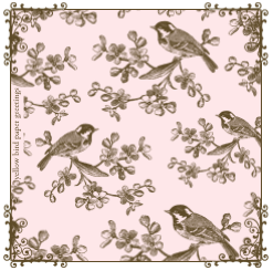 pink birds on branches gift tags