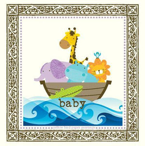 Baby Animals in a Boat Congratulations gift tag