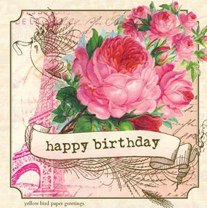 Vintage Rose Bouquet Eiffel tower Birthday Gift tag