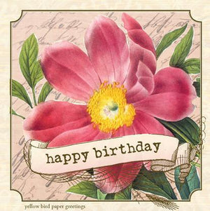 Vintage Wild Rose Happy Birthday Gift tag