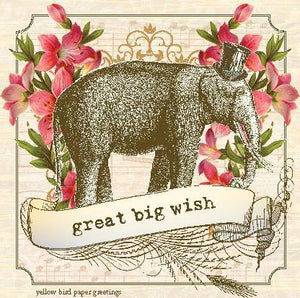 Vintage Elephant great big wish birthday Gift tag