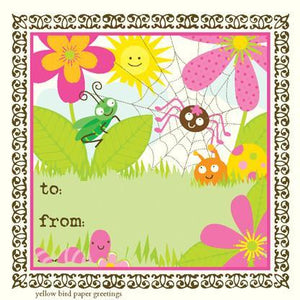 Cute garden Bugs birthday Gift tag