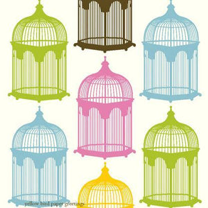 Vintage multi coloured Bird Cages tags