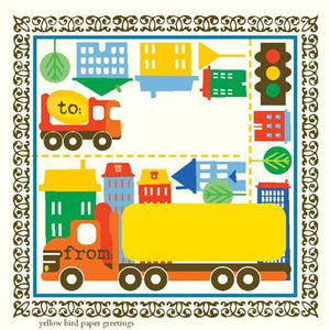 kids big City Trucks birthday Gift tag