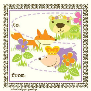 kids bright Critters birthday Gift tag