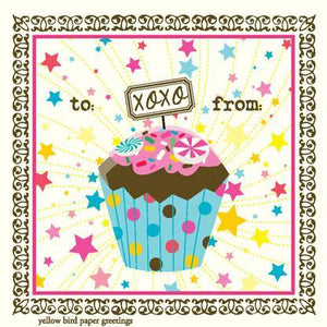 XOXO Cupcake Birthday Gift tag