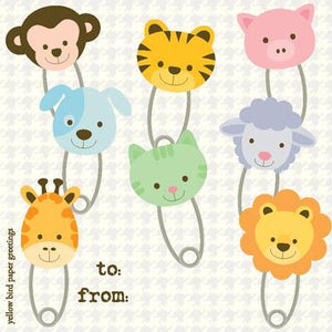 Baby Animal Faces Diaper Pins Gift tag