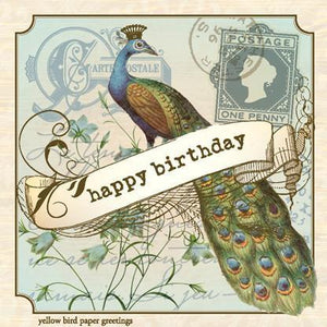 Vintage Birthday Peacock Gift tag