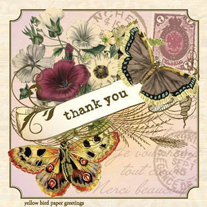 Vintage Butterfly Thank You Gift tag