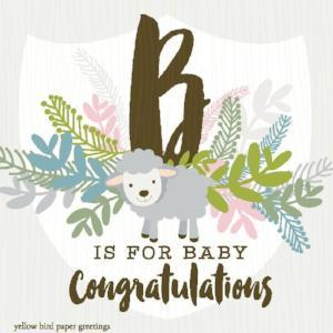 B is for Baby Congratulations gift tag