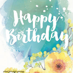 Icy green floral birthday gift tag