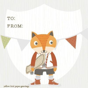 Kids Skater Fox to/from gift tag