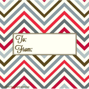 Christmas Red Chevron pattern to/from gift tag
