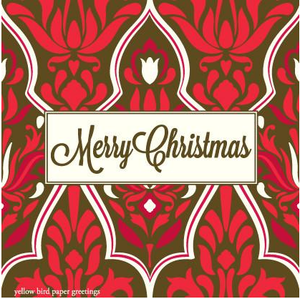 Merry Christmas Damask pattern gift tags