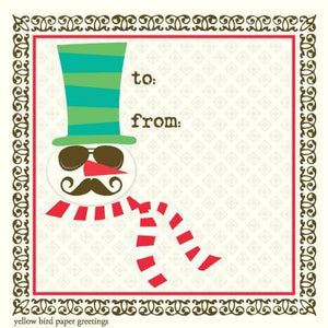 Christmas Snowman with hipster mustache To/From Gift Tags